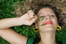 Free Beautiful Girl Lying Down Of Grass Royalty Free Stock Photo - 5432035