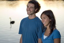 Free Happy Couple By The Pond. Horizontal Stock Image - 5433471