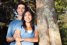Free Happy Couple Embracing By A Tree - Horizontal Stock Photo - 5433500