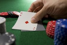 Free Blackjack Hand And Chips Royalty Free Stock Photo - 5433535