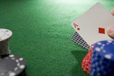 Free Gambling Hand With Ace Stock Image - 5433551