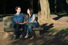 Free Laughing Couple On A Stone Bench - Horizontal Stock Photos - 5433933