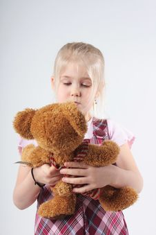 Free Small Girl And Teddy Stock Photo - 5433950