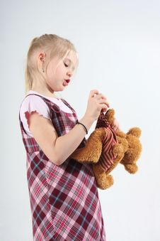 Free Girl And Teddy Bear Stock Photography - 5433992