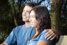 Free Couple On A Bench-Horizontal Stock Images - 5433994
