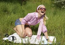 Young Woman  Is Dared Stock Photography