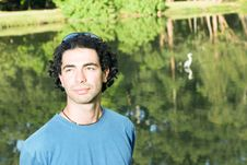 Free Man Standing In Front Of Pond - Horizontal Royalty Free Stock Image - 5434156