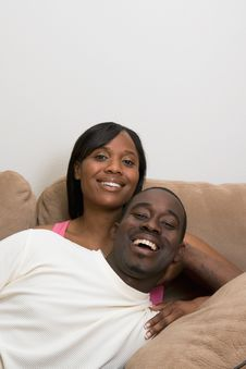 Free Happy Couple On A Couch - Vertical Royalty Free Stock Images - 5434299