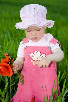 Free Child With Red Flower Amongst Green Grass Stock Photos - 5434593