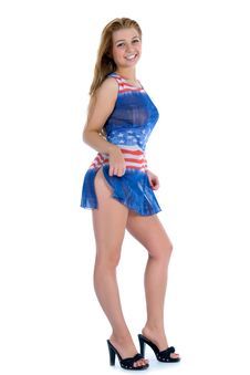 Free Girl In  Dress From The American Flag Royalty Free Stock Photography - 5435057