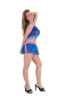 Free Girl In  Dress From The American Flag Stock Photo - 5435240