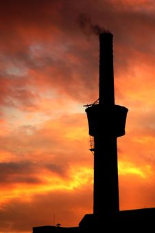 Free A Chimney At Sunset Stock Photos - 5435893