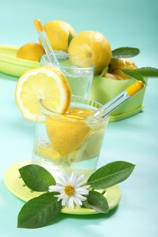 Free Glass Of Fresh Water With Lemon Royalty Free Stock Image - 5435986