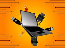 Free Laptop With Plug-in Royalty Free Stock Images - 5436289