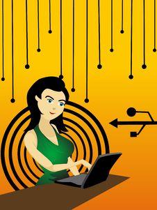 Free Girl Working On Laptop Stock Photos - 5436343
