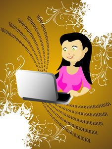 Free Lady With Laptop Stock Image - 5436361