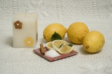 Free Lemons With Candle Stock Photo - 5436940