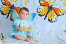 Free Baby Girl With Butterfly Wings Stock Image - 5437301