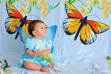 Free Baby Girl With Butterfly Wings Stock Image - 5437411