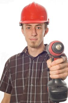 Free Worker With Drill Stock Image - 5437521