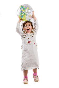 Free Young Girl Plays With Globe Stock Photos - 5437893