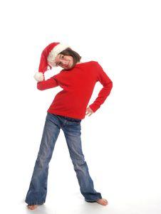Cute Girl Wearing Santa Hat Royalty Free Stock Photography
