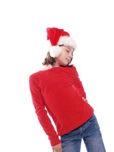 Free Cute Girl Wearing Santa Hat Royalty Free Stock Images - 5437989