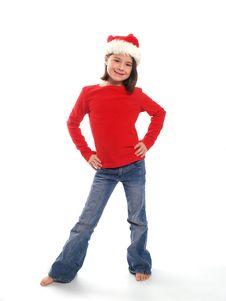 Cute Girl Wearing Santa Hat Stock Photos