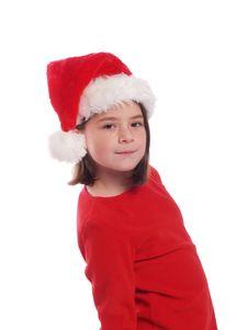 Cute Girl Wearing Santa Hat Royalty Free Stock Image