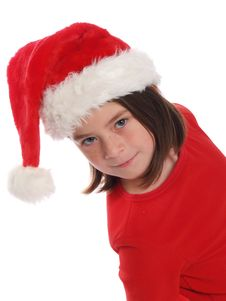 Free Cute Girl Wearing Santa Hat Royalty Free Stock Images - 5437999