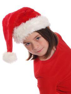 Cute Girl Wearing Santa Hat Royalty Free Stock Images