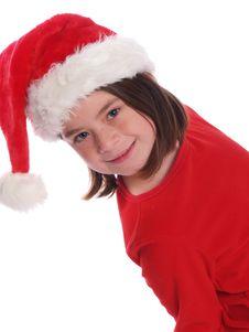 Cute Girl Wearing Santa Hat Stock Photo