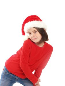 Free Cute Girl Wearing Santa Hat Royalty Free Stock Photography - 5438017