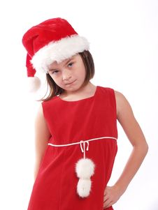Free Cute Young Santa Girl Is Watching You! Royalty Free Stock Photo - 5438065
