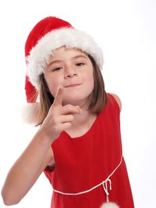 Free Cute Young Santa Girl Is Watching You! Stock Photography - 5438072