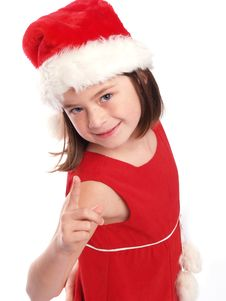 Free Cute Young Santa Girl Is Watching You! Stock Image - 5438091