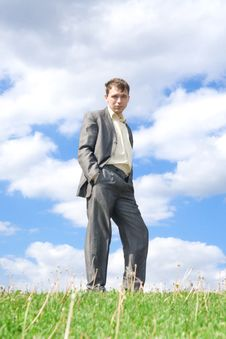 Free The Businessman Standing On A Green Grass Stock Images - 5438424