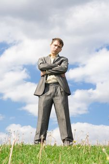 Free The Businessman Standing On A Green Grass Stock Photos - 5438443