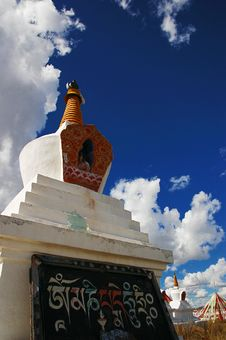 Free Tibet White Pagodas Stock Image - 5438501