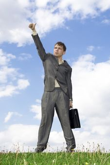 Free The Businessman With The Handbag Standing On Stock Photography - 5438512