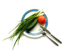 Free Plate With Vegetables Stock Photography - 5439552