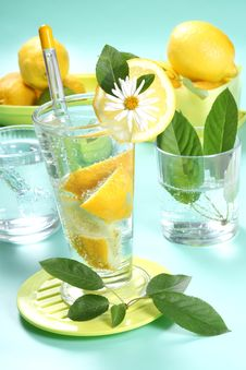 Free Glass Of Fresh Water With Lemon Stock Image - 5439871