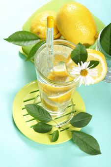 Free Glass Of Fresh Water With Lemon Stock Images - 5439884