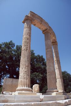 Greek Temple Ruins In Olympia Stock Photo