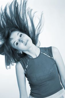 Free Beautiful Girl Shaking Her Hair, Monochrome Stock Photography - 5440072