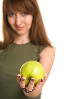 Free Fitness Girl With Green Apple, Focus On Fruit Stock Photography - 5440092