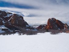 Free Winter And Red Rocks Royalty Free Stock Image - 5441286