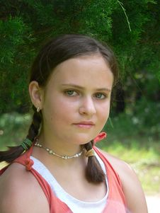 Free Teenage Girl In Orange Tank Royalty Free Stock Photography - 5442247