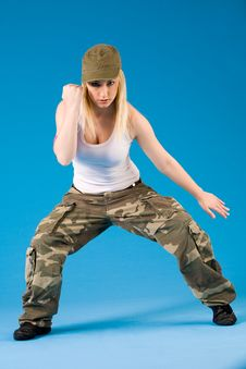 Free Blond Girl With Dance Moves Stock Images - 5442254