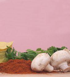 Mushrooms And Paprika Royalty Free Stock Photo